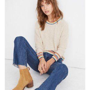 Madewell, Rainbow-Trim Cashmere Sweatshirt